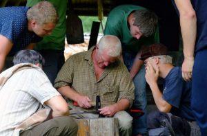 Kevin teaching peening, Estonia